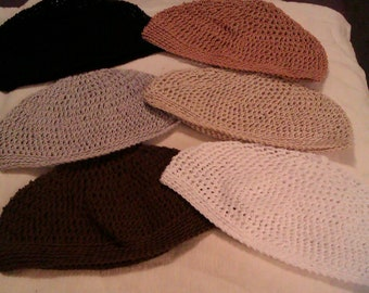beanies, kuffi, kufi, hand crocheted set of 6