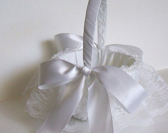 Flower Girl Basket Handmade Wedding  BRIA Flowergirl White or Ivory