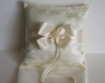 "Wedding Pillow,Ring Bearer,  ""NUANCE"" In Brocade, Ring Boy, White Pillow, Ivory Pillow"
