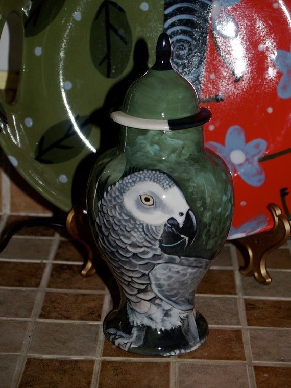 Custom parrot bird PET URN for fishes small dogs and cats hand painted