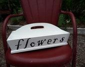 Primitive Wooden Garden Tray In White Paint Flowers
