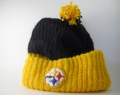 Vintage Pittsburgh Steelers Tossle Snow Ski Cap Black and Gold Hat Pom Pom