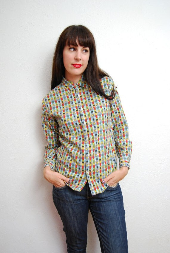 vintage 1980s / multi stripe / pointed collar / fitted shirt / long sleeves / XS-S