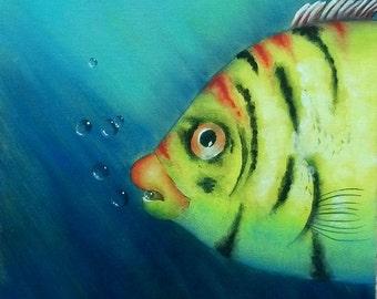 Acrylic Oscar the Fish Ocean Bubbles Painting
