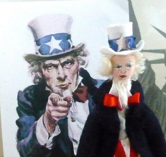 Uncle Sam Miniature Doll Historical Americana Art Collectible