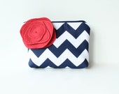 Chevron Cosmetic Bag and Flower Brooch, Navy and Red, Personalized Bridesmaid Gift, Zipper Pouch Make Up Bag