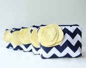 Navy and Yellow Bridesmaid Gift, Cosmetic Bag Set of 7, Chevron Clutch, Flower Brooch, Personalized Gift, Choose Colors