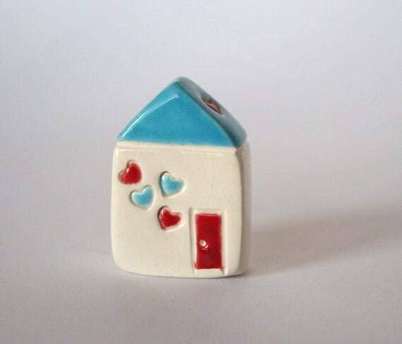 Confetti Hearts red aqua blue white  little clay house