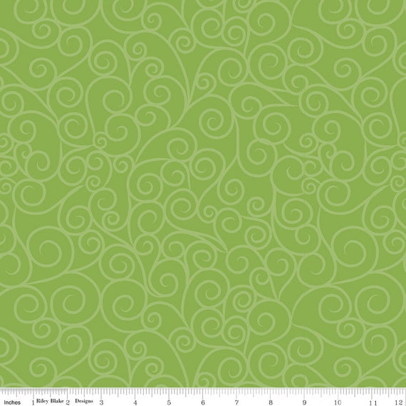 Riley Blake Good Swirls in Green Cotton Quilting Fabric Fat Quarter