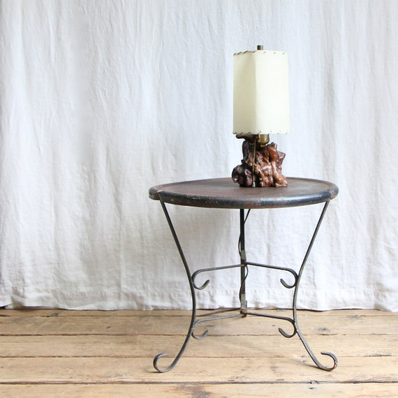 Vintage Metal Side Table / Garden Table