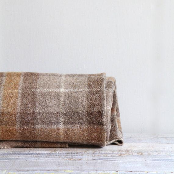 Vintage Wool Plaid Camp Blanket