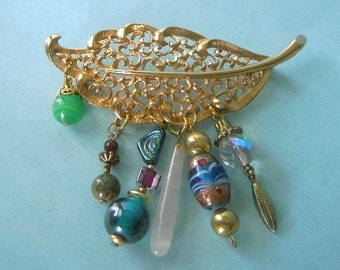 Vintage leaf and beaded brooch given new life SUMMER SALE