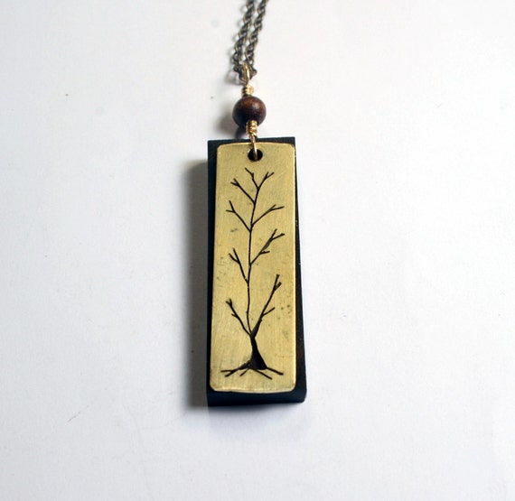 Tree Necklace, Woodland and Bohemian Handmade Necklace - wood pendant with gold brass