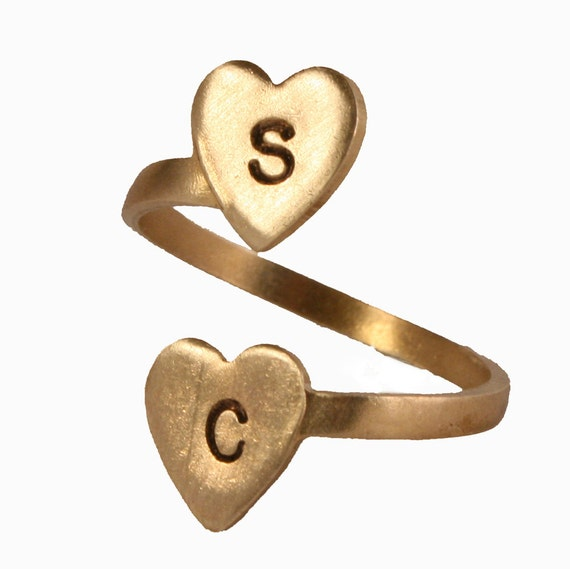 Personalized Brass Initial Ring - Two Heart Initial Ring, Custom, Personalized initials