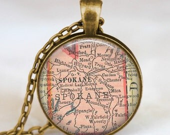 Spokane map necklace, spokane pendant, washington spokane jewelry, map charm with gift bag