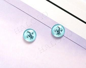 Sale - 10pcs handmade Fleur de LIs glass dome cabochons 12mm (12-0148)
