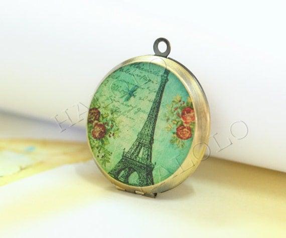 1pcs handmade Eiffel Tower  antique bronze locket 32mm (L0327)