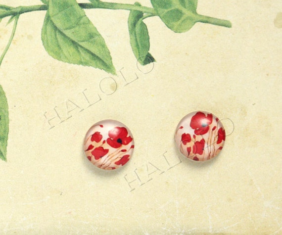 Sale - 10pcs handmade red flowers round clear glass dome cabochons 12mm (12-0485)