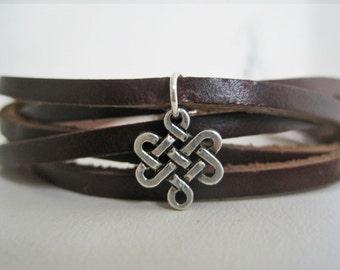 Leather Cuff Women's Celtic Swirl Braided Leather Cuff