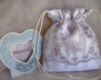 SALE, SALE, White Drawstring Bag, Embroidered Light Lavender Organza Overlay, Heirloom/Keepsake Bag, Special Event Accessory