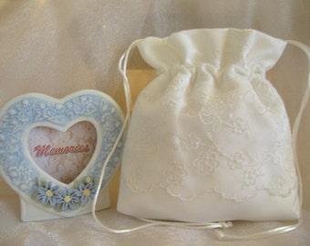 WEDDING, BRIDAL WHITE Drawstring Bag, Cherry Blossom Organza Overlay, Keepsake Bag, Heirloom Bag, MONeY Bag, Wedding Accessory