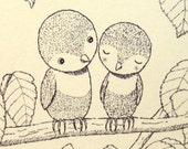 Woodland Wedding Bird Illustration Print Ink Drawing Print Black & White Ivory 4x6 Birds Wall Art Ladybug Rustic Home Wall Decor Nursery Art