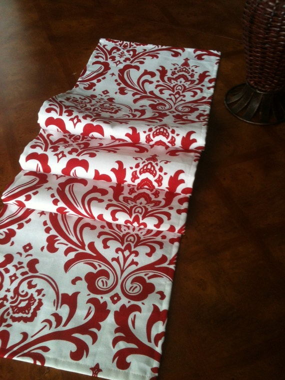 "Red and White Damask Table Runner 12""  x up to 76"" long - Lined"