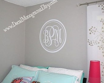 22 inch Circle and Dots Monogram Vinyl  Wall Decal