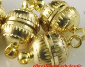 Free Shipping 10 Sets gold Plated Round Magnetic Clasps for necklace&bracelet round clasps 10mm A560