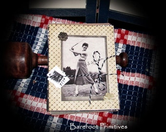 Primitive advertising Golf Note Cards notecards Handmade stickers Envelopes set 27