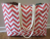 Beach Bag Extra Large - Coral Pink Chevron Beach Tote - Water Resistant Lining - Interior Pocket