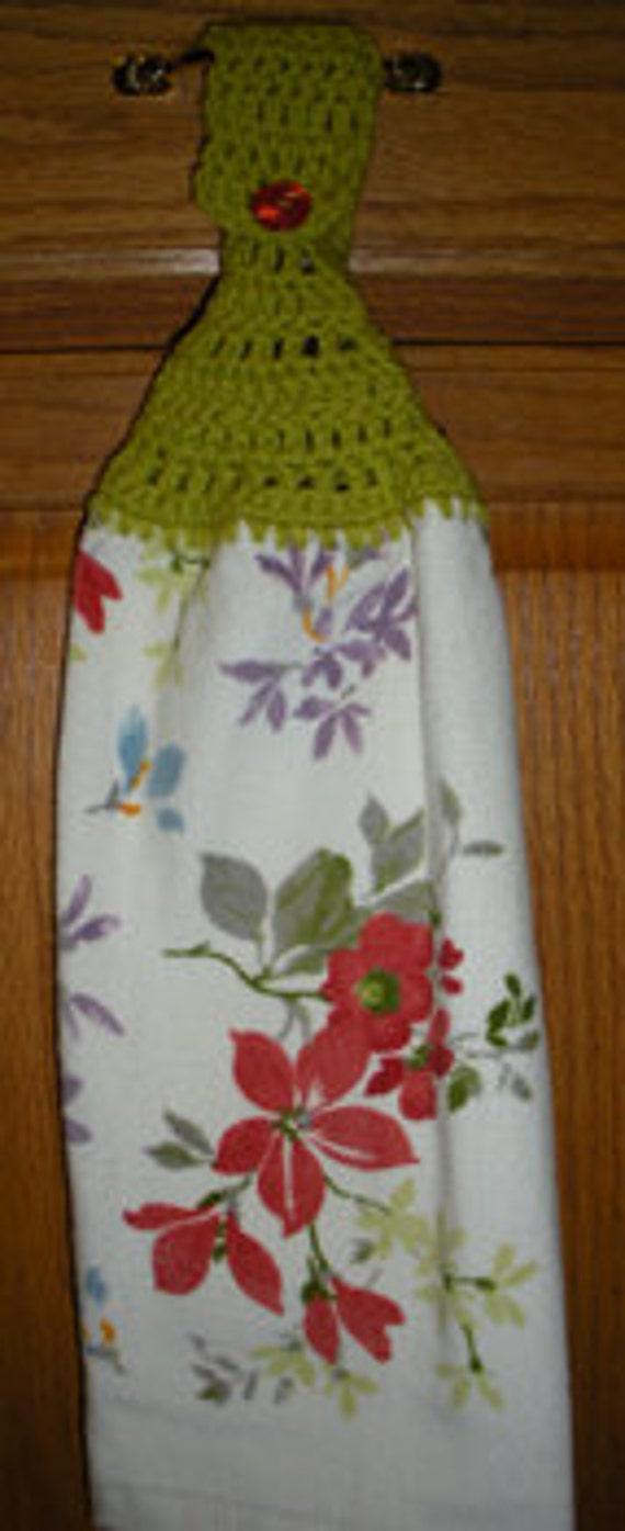 Country Wildflowers Crochet Top Hanging Towel
