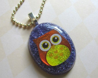 Brown Owl Resin Necklace