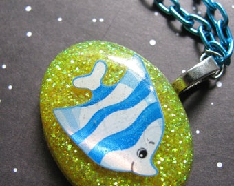 Blue Fish Resin Necklace