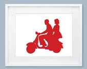 Couple on a Vespa Silhouette Print - Wedding Gift, Anniversary Gift, European wedding