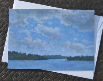 River scene note cards, Set of 8 cards with envelopes