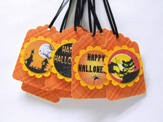 Halloween Gift Tags set of 8 black ribbon included