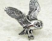 Barn Owl Tie Pin, Antiqued Pewter Tie Tack Pin