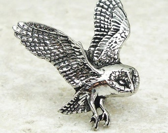 Barn Owl Tie Pin, Antiqued Pewter Tie Tack Pin