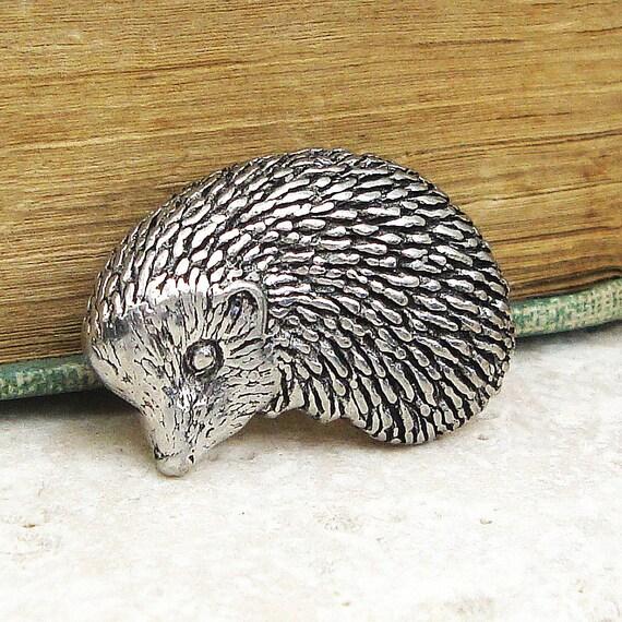 Hedgehog Tie Pin. Antiqued Pewter Tie Tack Pin