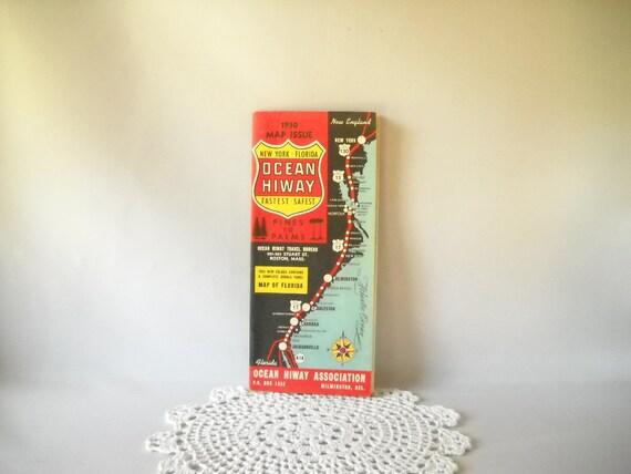 Vintage Map Road Map Ocean Highway East Coast United States Paper Ephemera Travel