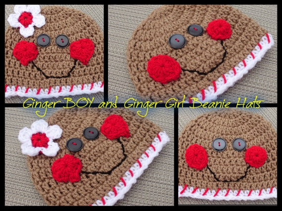 New GingerBoy OR GingerGirl BEANIE Hats- Handmade Bouquet Beanies Crochet- Upick Boy or Girl and Size - Great Photo Prop