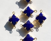 Opaque Blue Square Glass Stones in 2 Loop Brass Setting 8mm squ002G2
