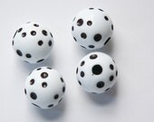 Vintage Large Hole White with Black Polka Dot Lucite Beads 18mm bds826C
