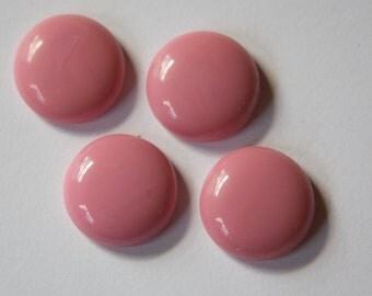 Vintage German Rose Pink Glass Cabochons 18mm cab180