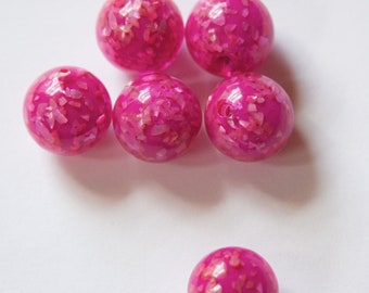 Vintage Lucite Pink Beads with MOP Glitter Inclusions 12mm (6) bds832J