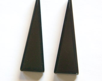 Vintage Chunky Black Acrylic Triangle Pendant Drops pnd155