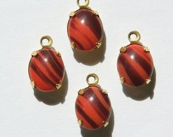 Vintage Opaque Coral and Brown Oval Stones in 1 Loop Brass Setting ovl005KK