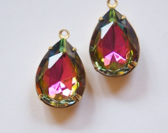 Colorful Vitrail Faceted Glass Teardrop Stones 1 Loop Brass Setting 18x13mm par004KK