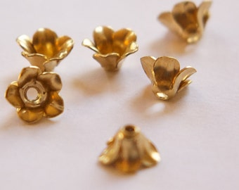Raw Brass Flower Bud Bead Cap Finding (6) mtl303C